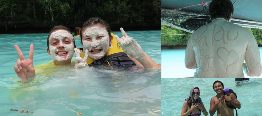The Milky Way is famous tourist attraction for snorkel tours in Palau. Bottom right, me and Marley during a snorkel assessment.