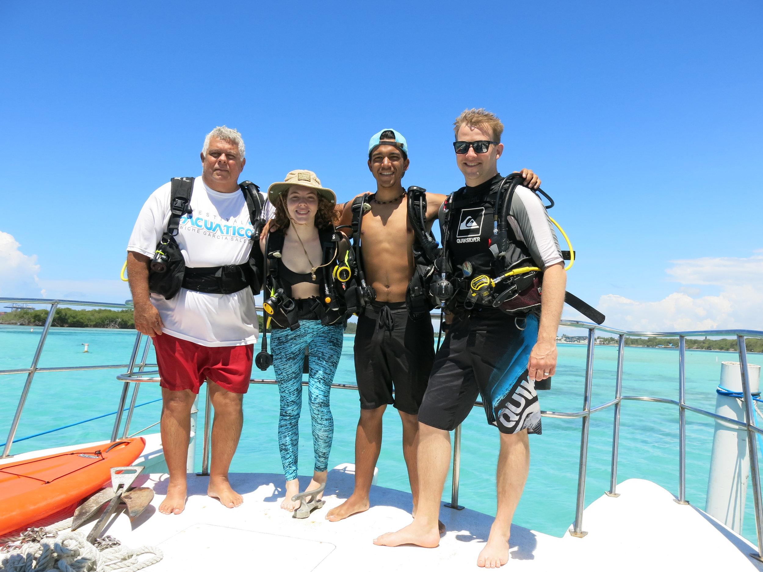 The new Green Fins Assessors - Chilo, Ana Carolina, Iker and Reef-World's JJ