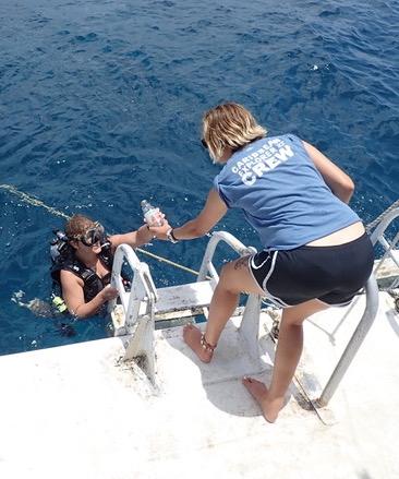 Members of the Explorer Ventures team taking part in an ocean cleanup