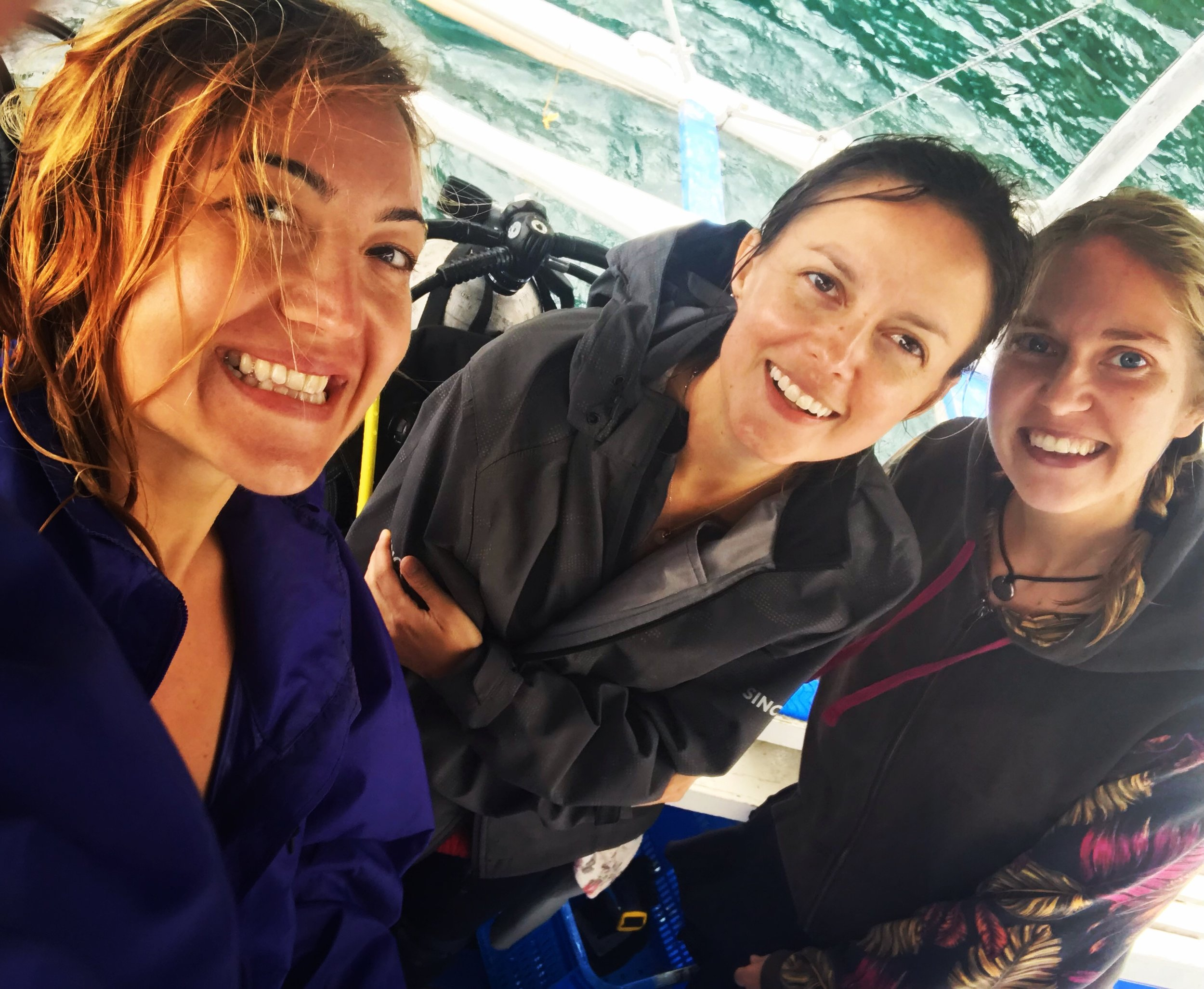 Klementina (left) on a Green Fins assessment with colleagues Jula and Mel