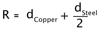 """Outer radius for copper """"ring""""."""