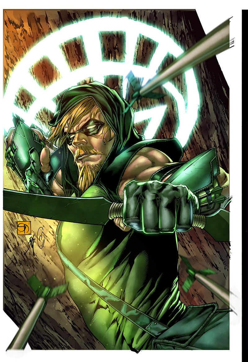 "Cover  ""Green Arrow"" #9  Pencil: Shane Davis  Ink: Michelle Delecki  Colors: Barbara Ciardo  DC COMICS"
