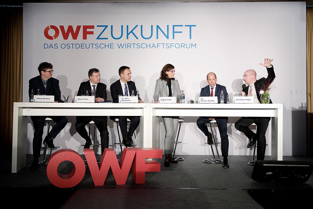 Große Diskussionsrunde mit Jakob Richter, Oliver Fern, Dr. Dirk Bachmann, Andrea Joras, Dr. Helmar Rendez und Christian Pegel