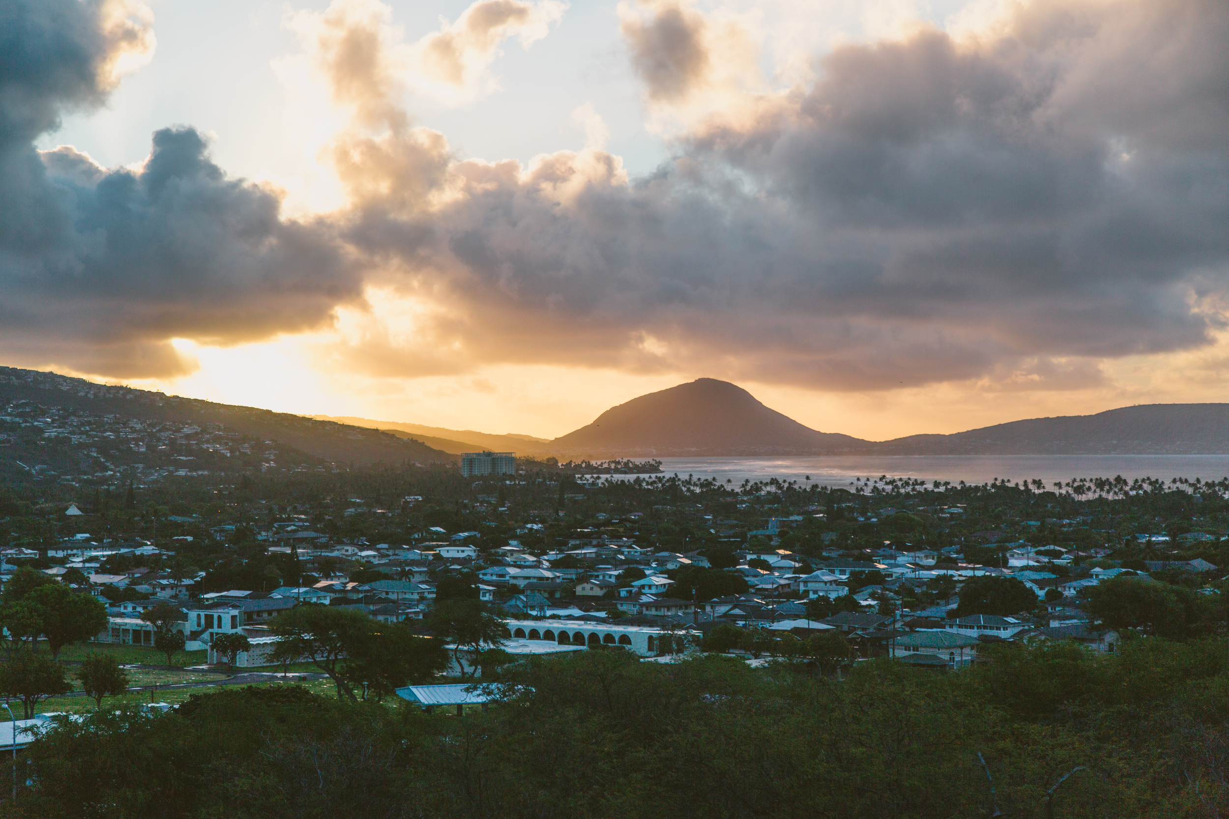 Sunrise from Diamond Head Crater, looking towards Koko Crater