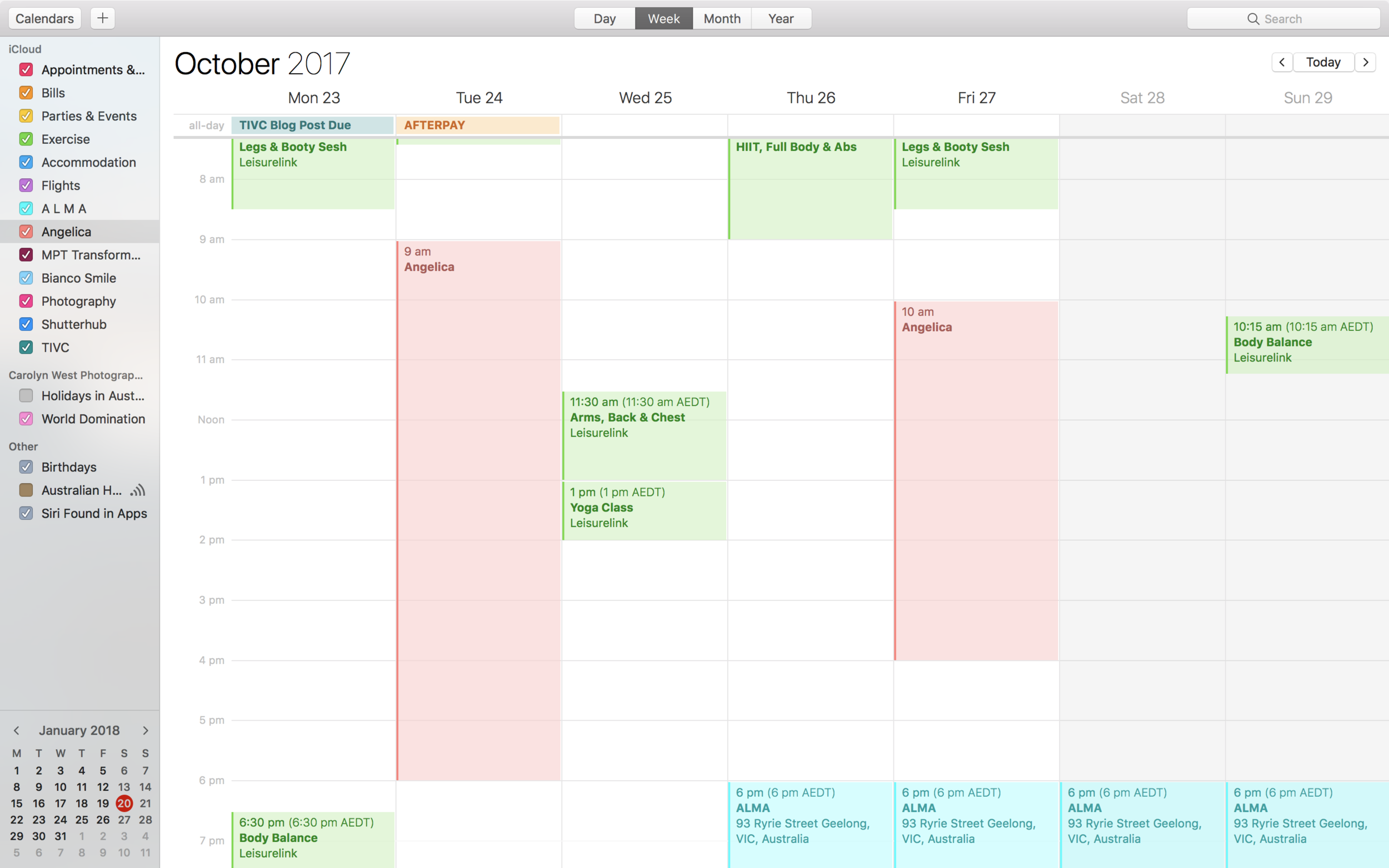 An example of a busy week I had back in October last year.