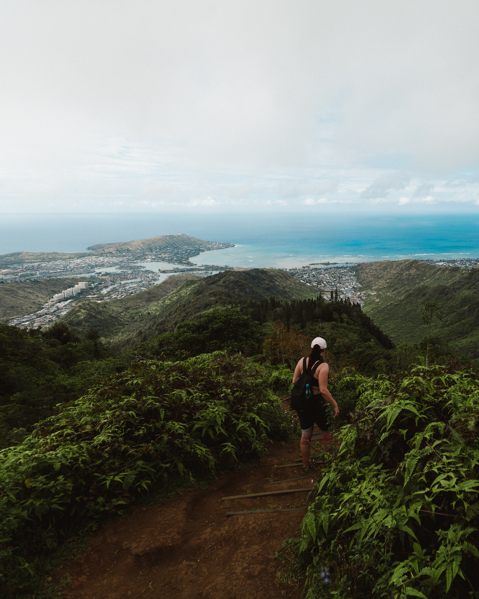 Stairs descending down into the valley overlooking Hanauma Bay on the south west side of O'ahu.