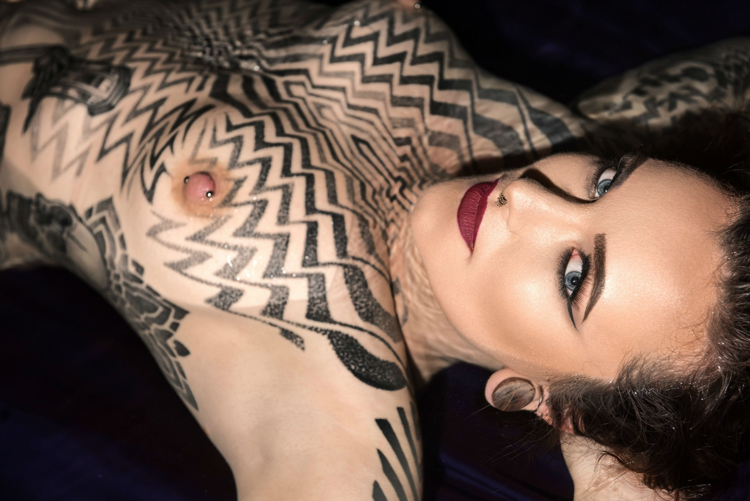 Miss Tallula Darling kinky escort, tattooed femdom, Pro Domme,  Mistress, BDSM dominatrix, painted lady