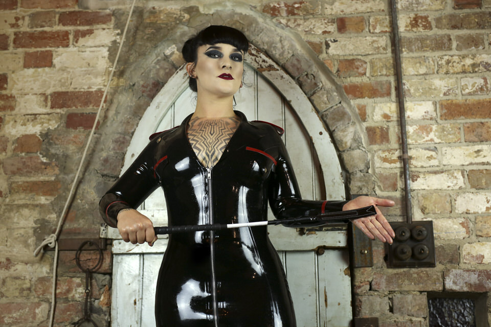 Miss Tallula, Sydney Mistress, Sydney Dominatrix, Latex Military Dress, corporal punishment, riding crop