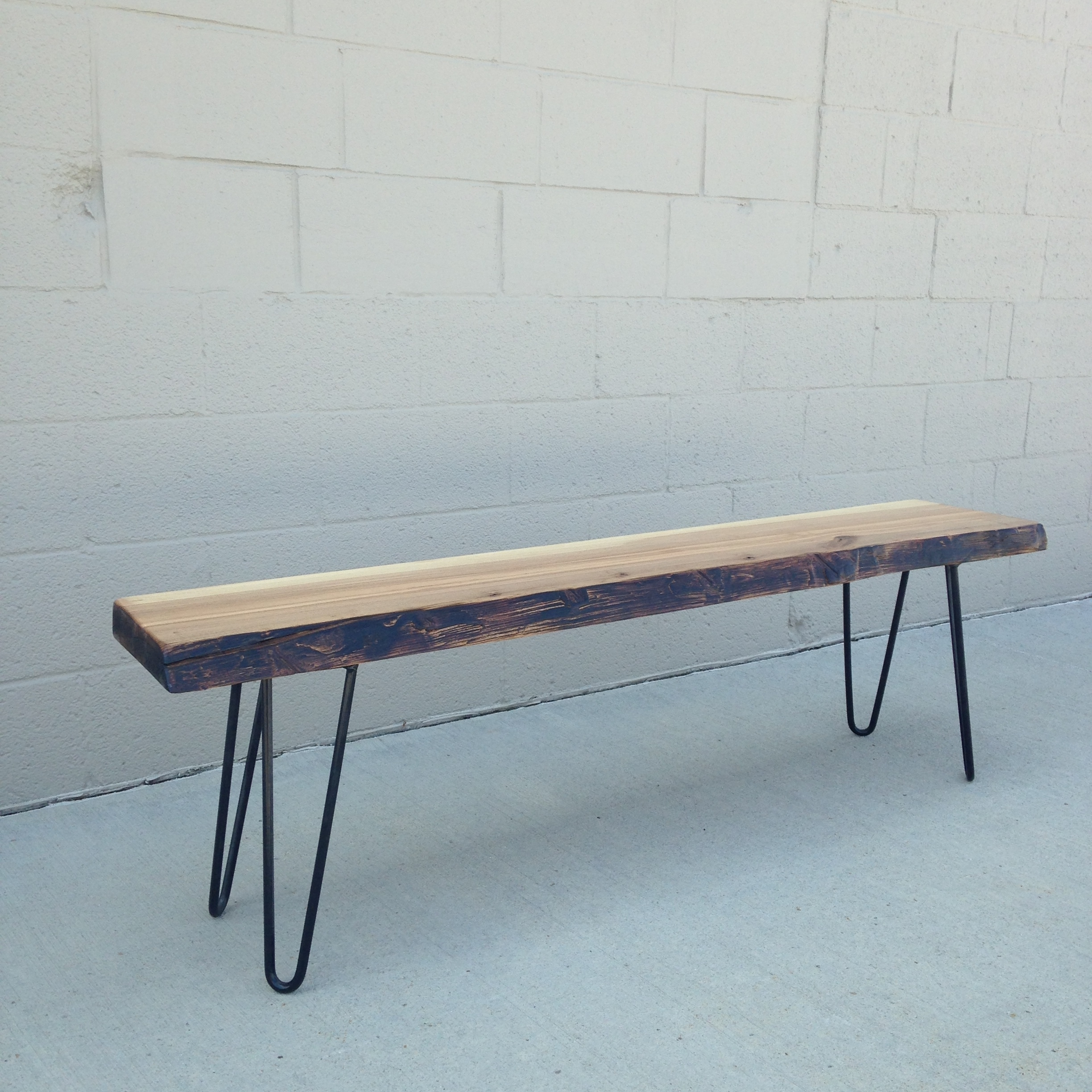 Live edge Ash bench with black hairpin legs