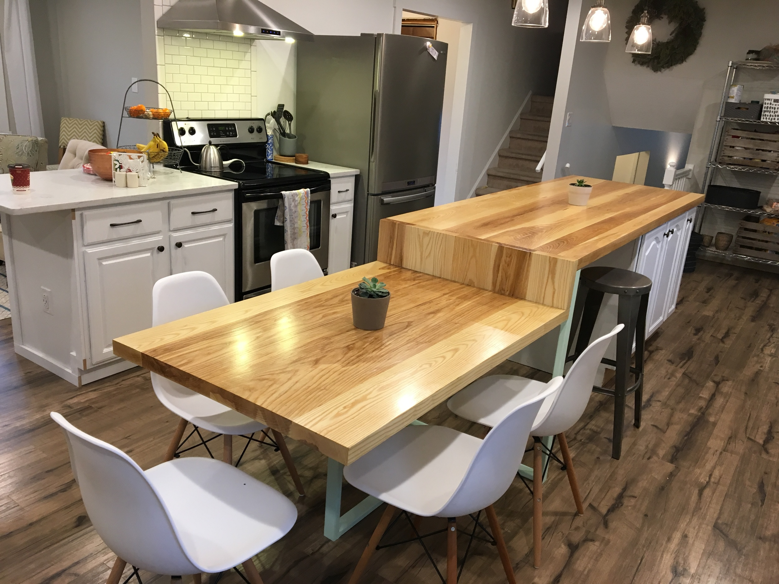 Ash kitchen island/table with custom designed metal legs