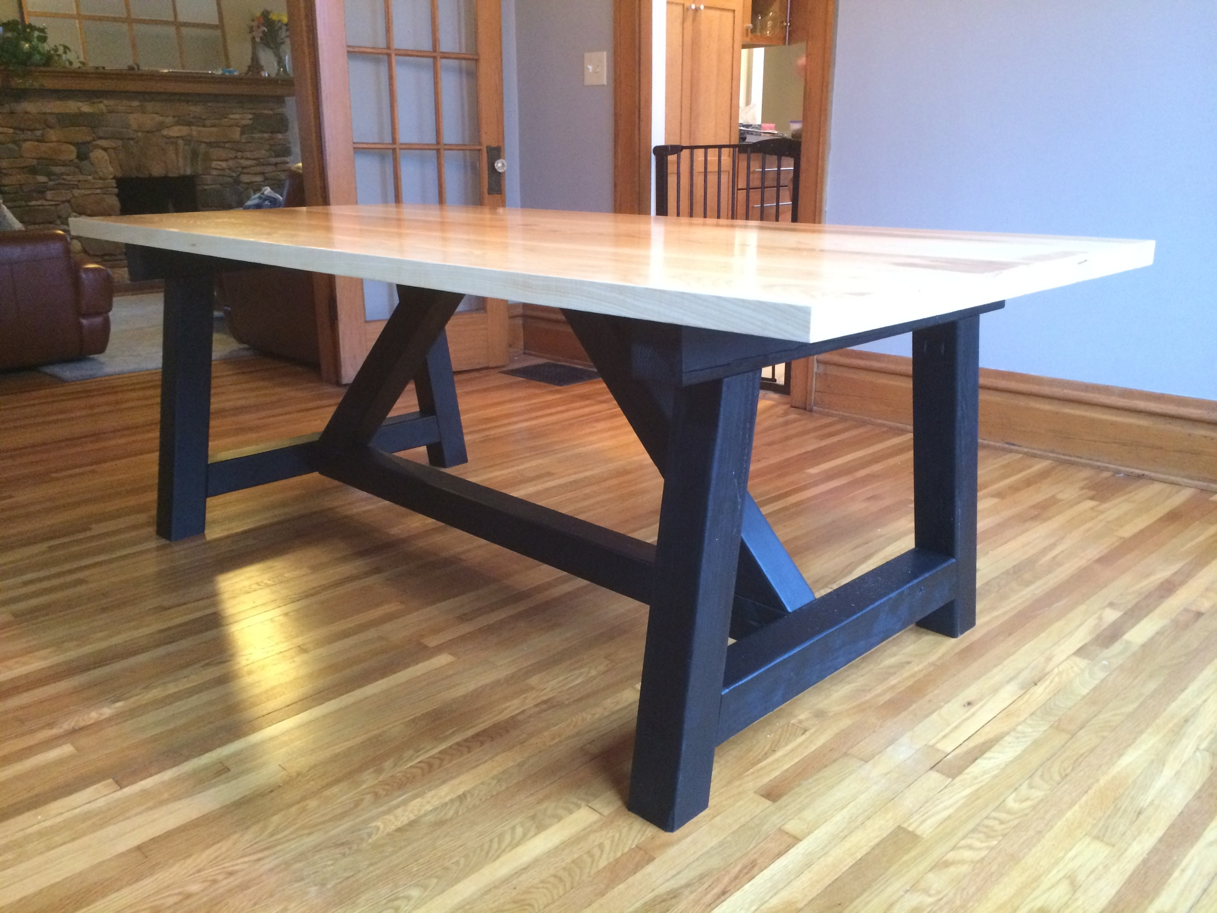 """Beefy """"A"""" frame table with white oak top"""