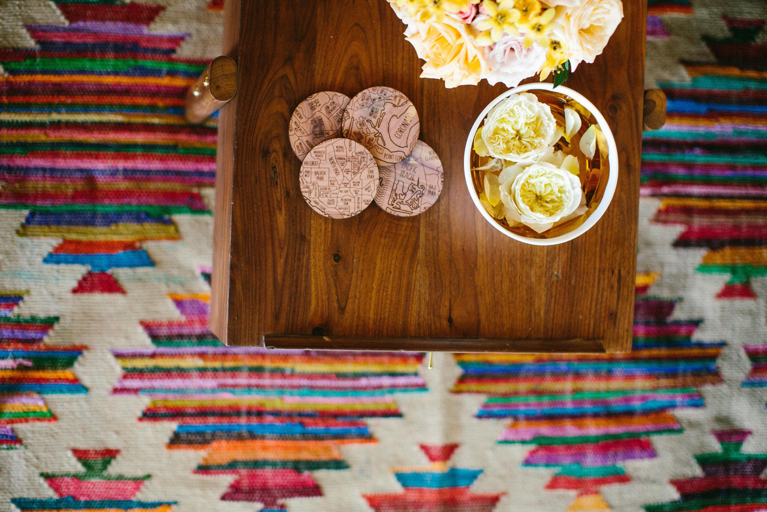 CB2 rug, San Diego neighborhood coasters, Blooms by Breesa Lee