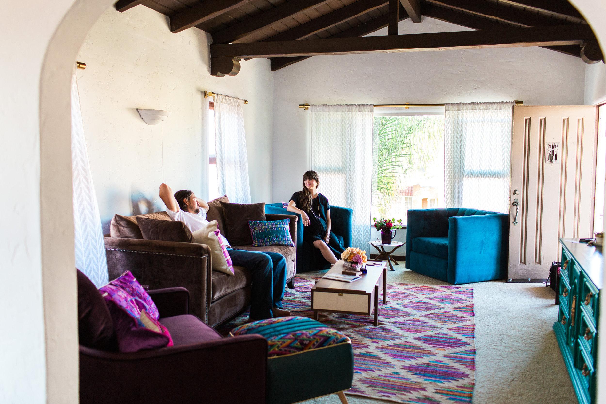 luke and lindsey in living room beams