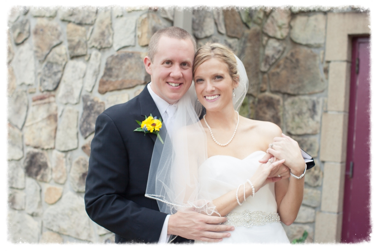Matt and I are on our wedding day. Thank goodness for Wedding Under Control so we could enjoy the fun and festivities!