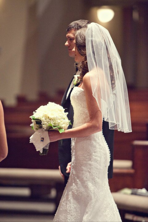 The elbow length veil works as a blusher too!
