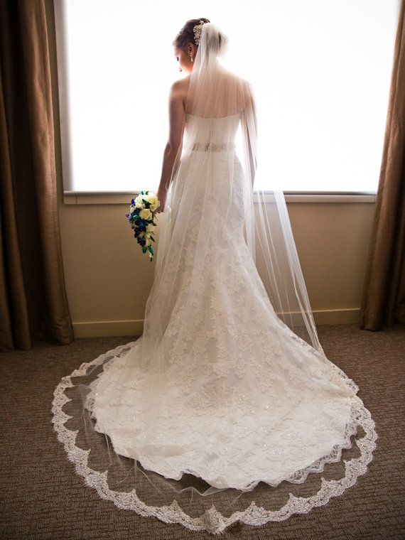 This chapel veil works perfectly with the dress and creates a nice cascaded effect.