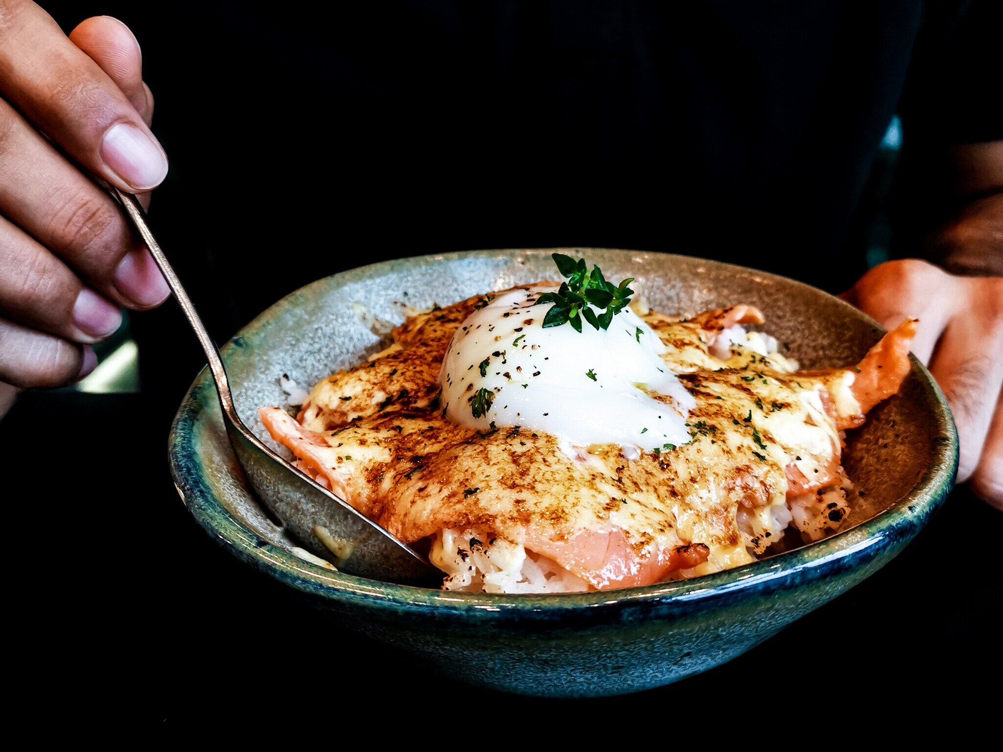 Torched Salmon + Egg Lava