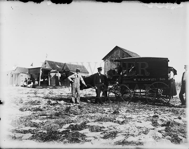 20. 1970.10.179  Breakwater Beach Bath Houses and W. W. Knowles Delivery Wagon c.1900 – photographer unknown.