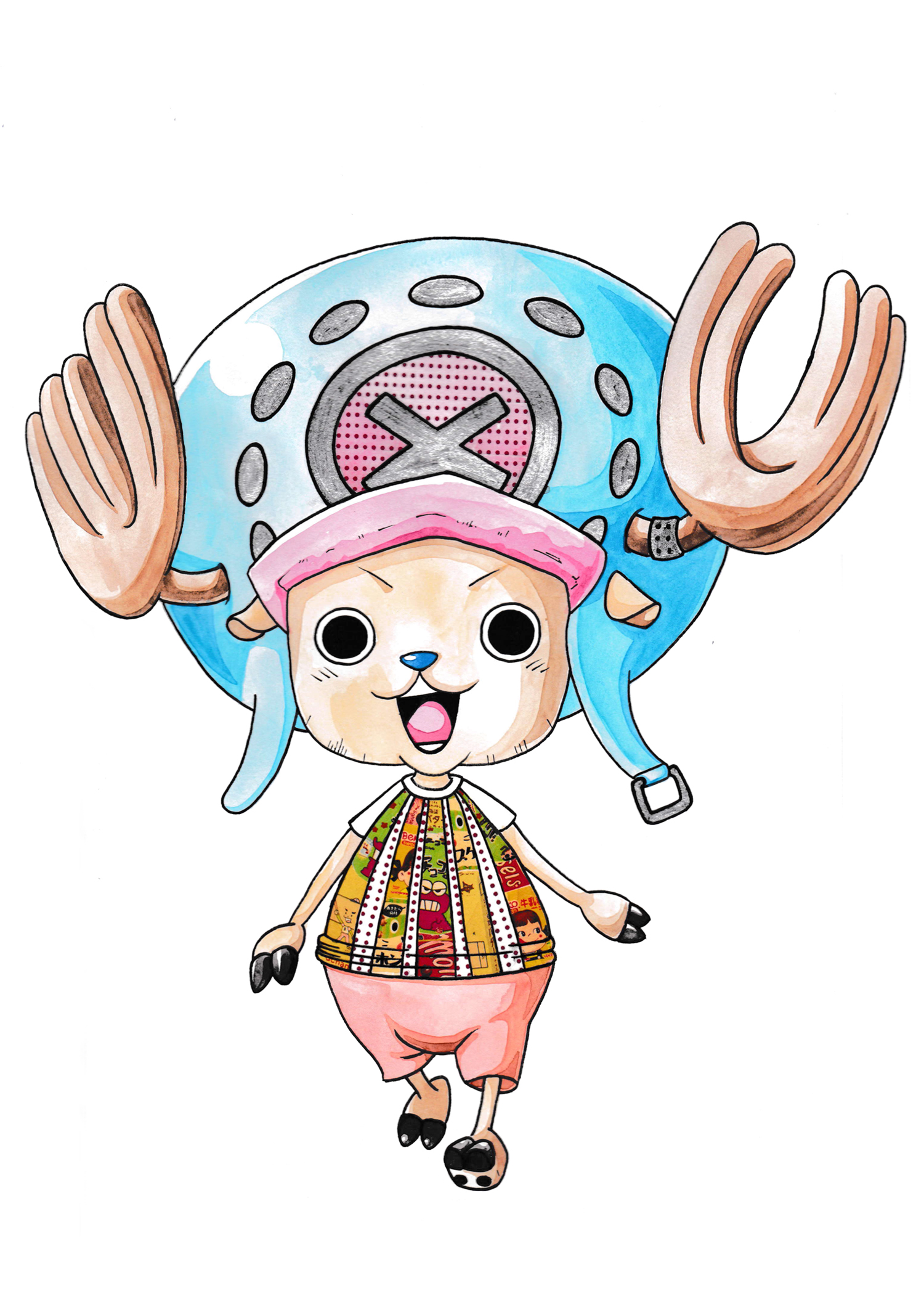 "Tony Tony Chopper - One Piece - Mixed Media - 11"" x 14"" ©ElenaOhlander - 2018"
