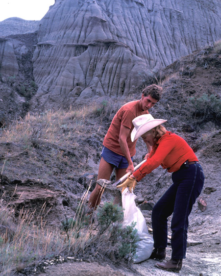 John Gatesy and Sunny Turner collecting matrix for screenwashing.  Both were volunteers working with in Dinosaur Park in 1985.
