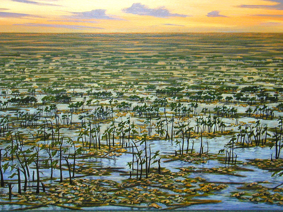 Painting by Brenda Middagh showing mass-death accumulations of ceratopsians forming as a result of floods of extensive area of the coastal plane.