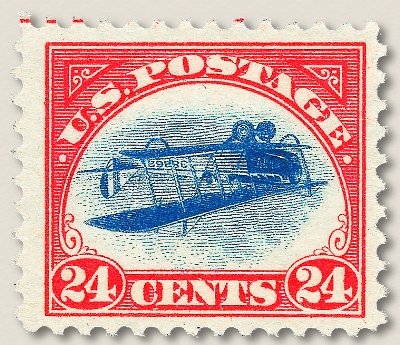 One of the famous inverted Jenny stamps from 1918. Image courtesy of Wikimedia commons.