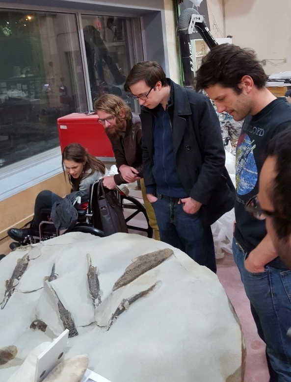 Myself and sundry examine a particularly impressive assemblage of gar at the Tyrrell.