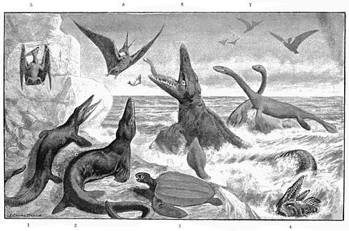 """The Great Cretaceous Ocean,"" by J. Carter Beard. From ""The Serpentlike Sea Saurians,"" by W.H. Balou,  Popular Science Monthly  53(1898): 209-225."
