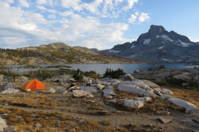 Gratuitous wilderness shot, from a backpacking trip in the Sierra Nevadas, at Thousand Island Lake in the Ansel Adams Wilderness.. Does the human presence mar the scene?