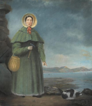 Mary Anning (1799-1847), with her dog. The dog was tragically killed in a mudslide while Mary was doing fieldwork.