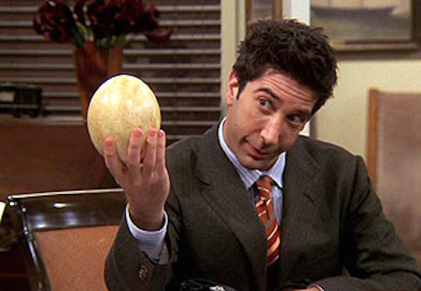 Ross attempts to bribe an ex-girlfriend's boss with a dinosaur egg that he claims to have come from a pterosaur and there are so many things wrong with that sentence that I feel physically ill. Image from zimbio.com.