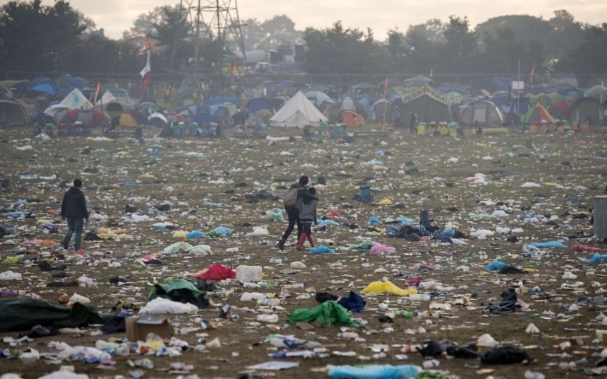 …and striking camp – leaving    mounds of garbage
