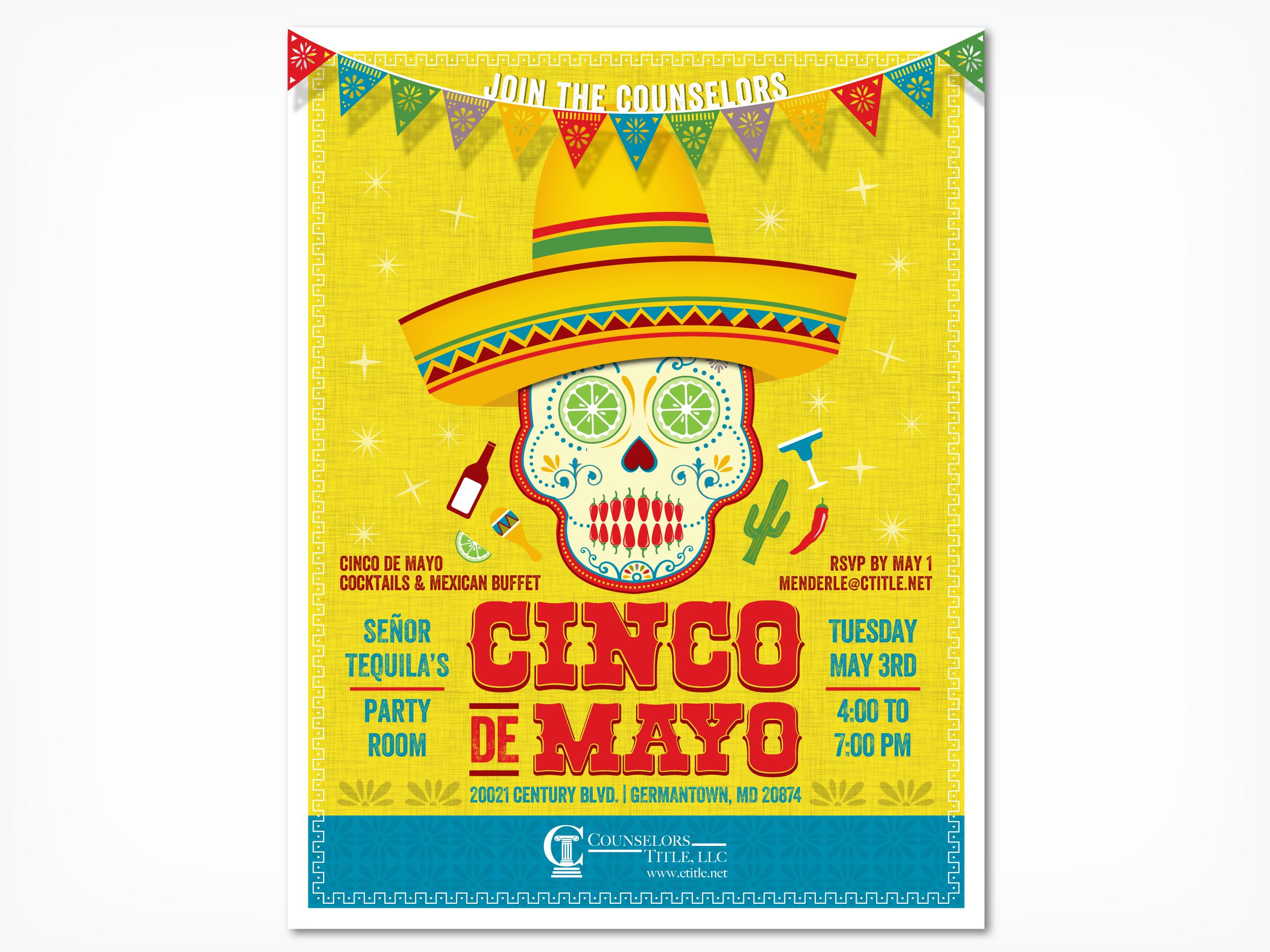 Counselors Title Cinco de Mayo, graphic design, print design, poster design, Cinco de Mayo flyer