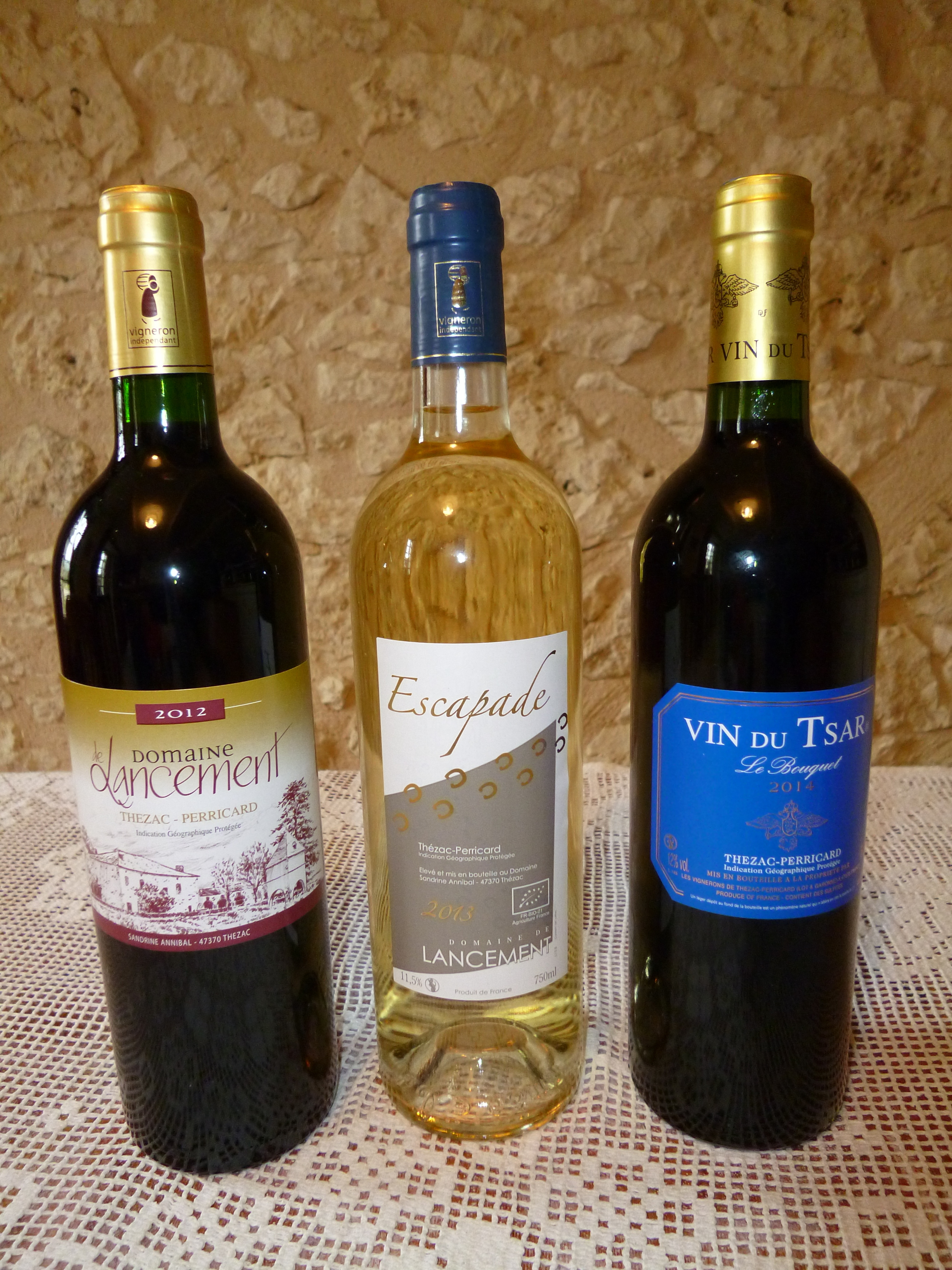 Some of the wines from Thezac. IGP Thezac Perricard Appellation.