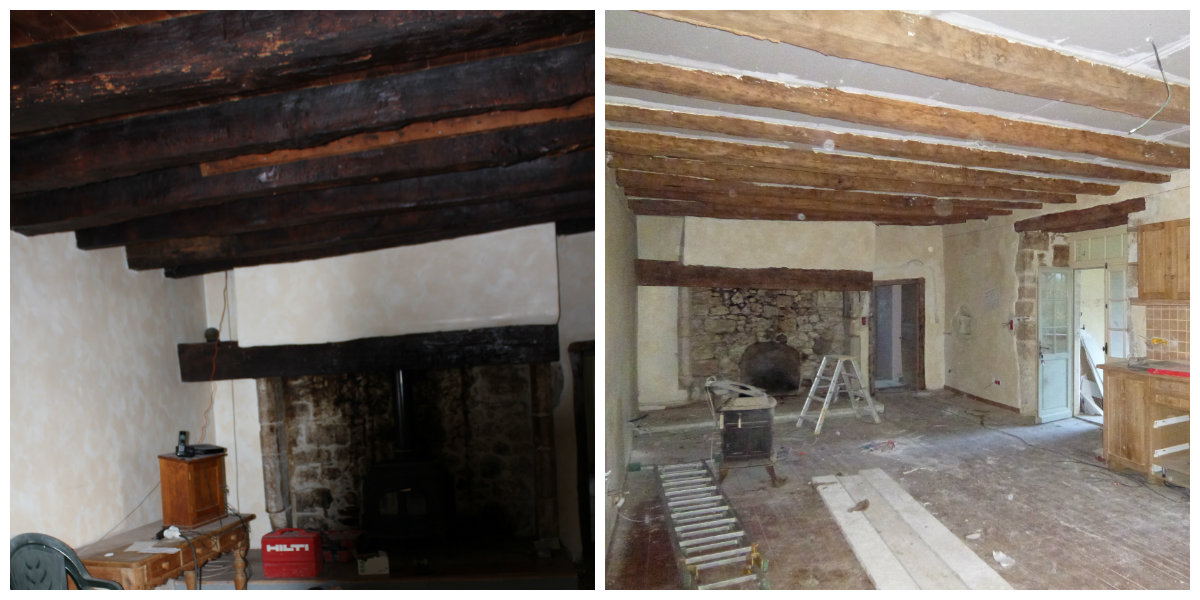 Before and after, the ceiling in the cuisine.
