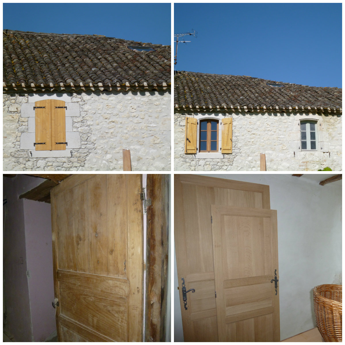 Top pictures: Shutters closed, shutters open. Bottom Picture: The old pine door on the left is the inspiration for the new doors on the right.