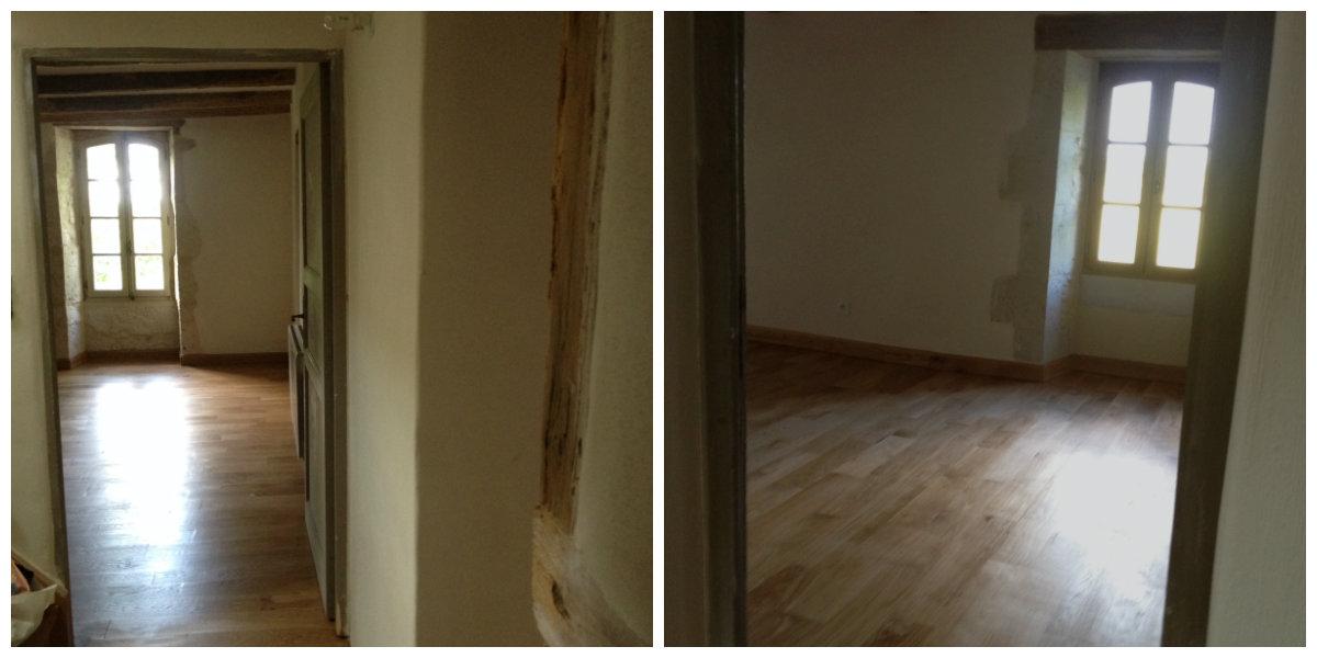 The polished oak floors, one more coat to go. (Left, Montaigu bedroom. Right, Tournon)