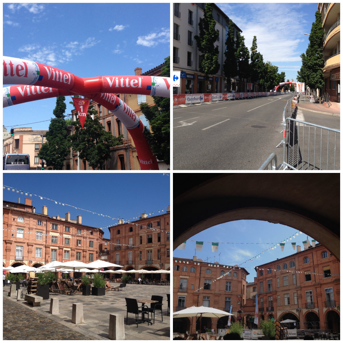 Montauban. Top: ready for the race. Bottom: The square in the centre of town.