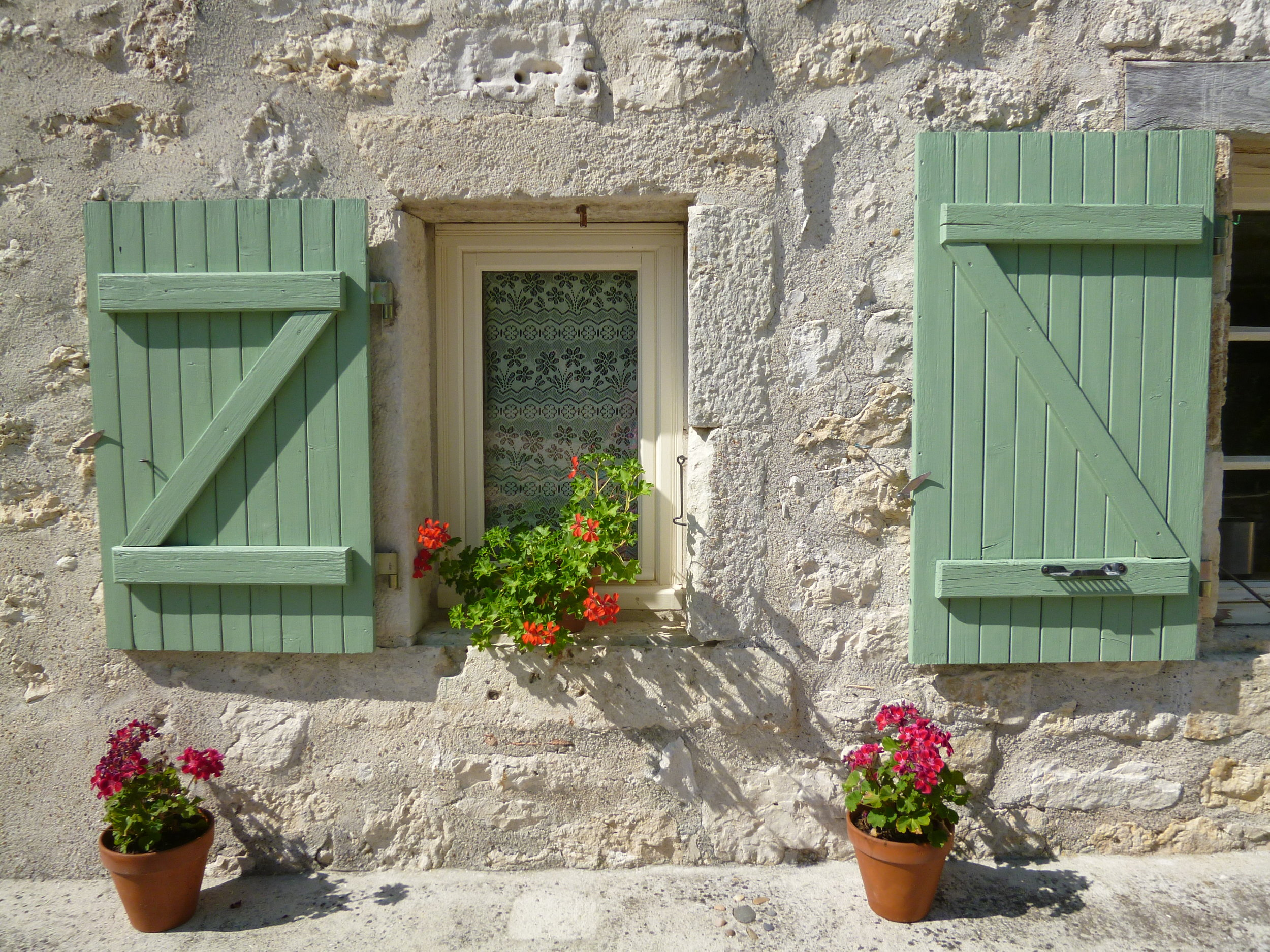 Geraniums and shutters.