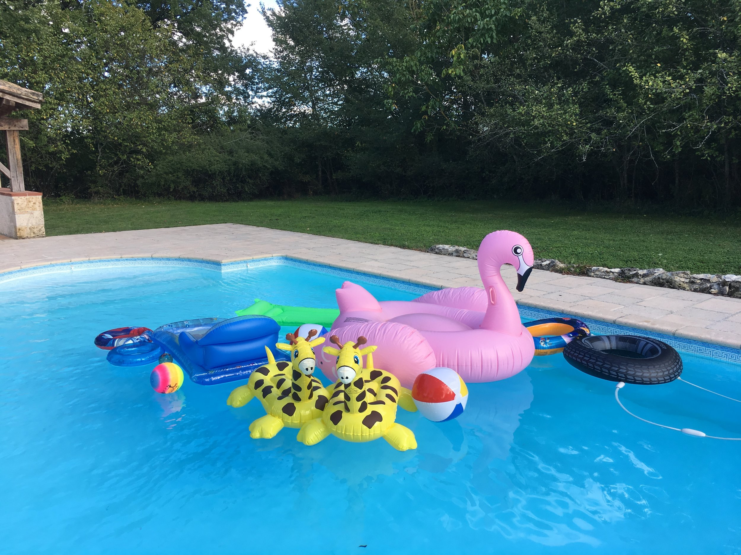 Our last guests of the year departed on the 23rd September, leaving an array of inflatables! I know that some are returning next summer so we will keep them safe 'till then.