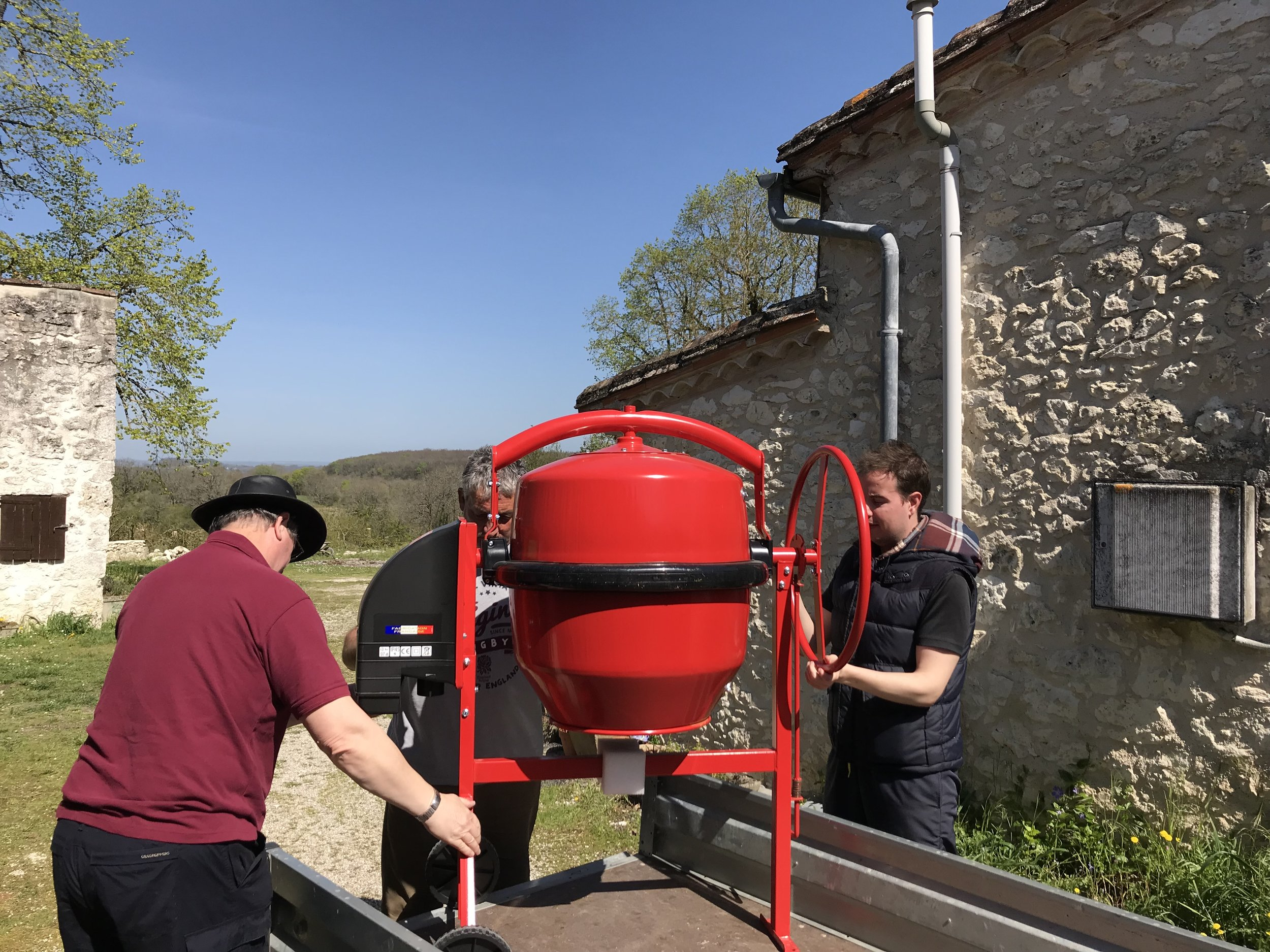 The new cement mixer in Farrari red. A wall builders essential piece of kit!