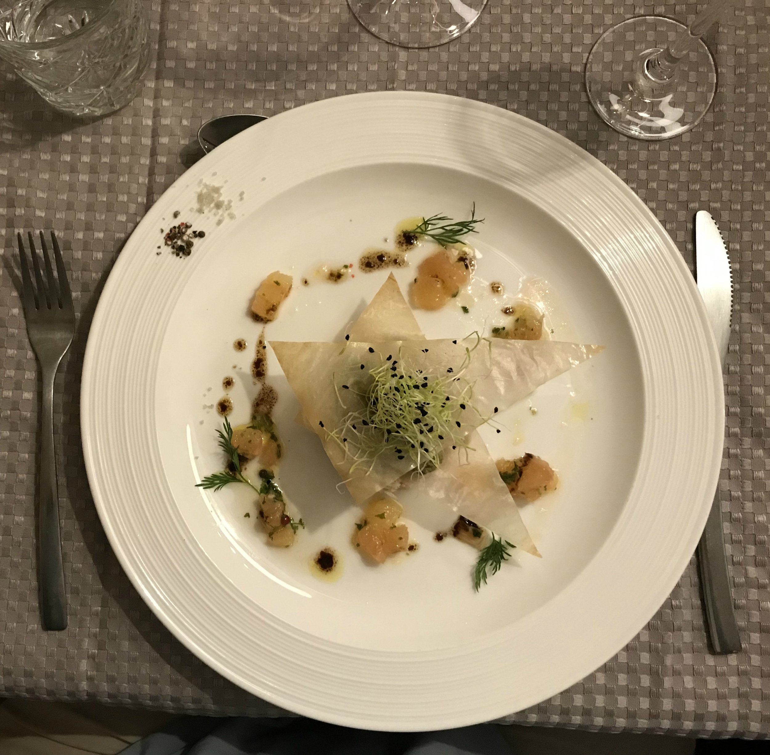 "Is it obvious I have been doing the ""Places to Eat"" newsletter? Still a bit food focused! This was my starter at Le Medieval (Puy l'Eveque) it just looks beautiful and it tasted fabulous too."