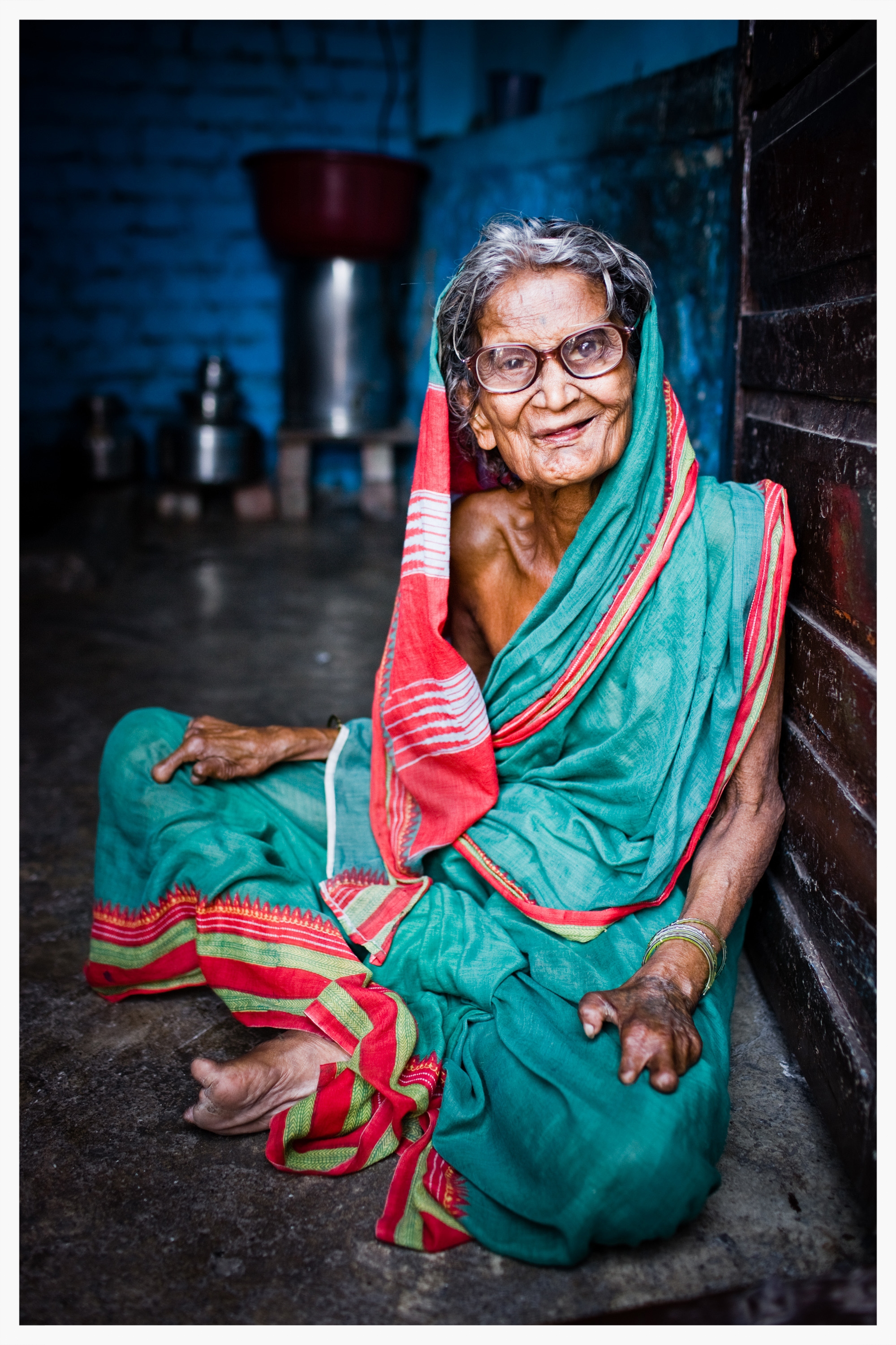 Devamma has lived with leprosy for more than 40 years. Being Untouchable, Indian Dalits. Photo: © Marcus Perkins