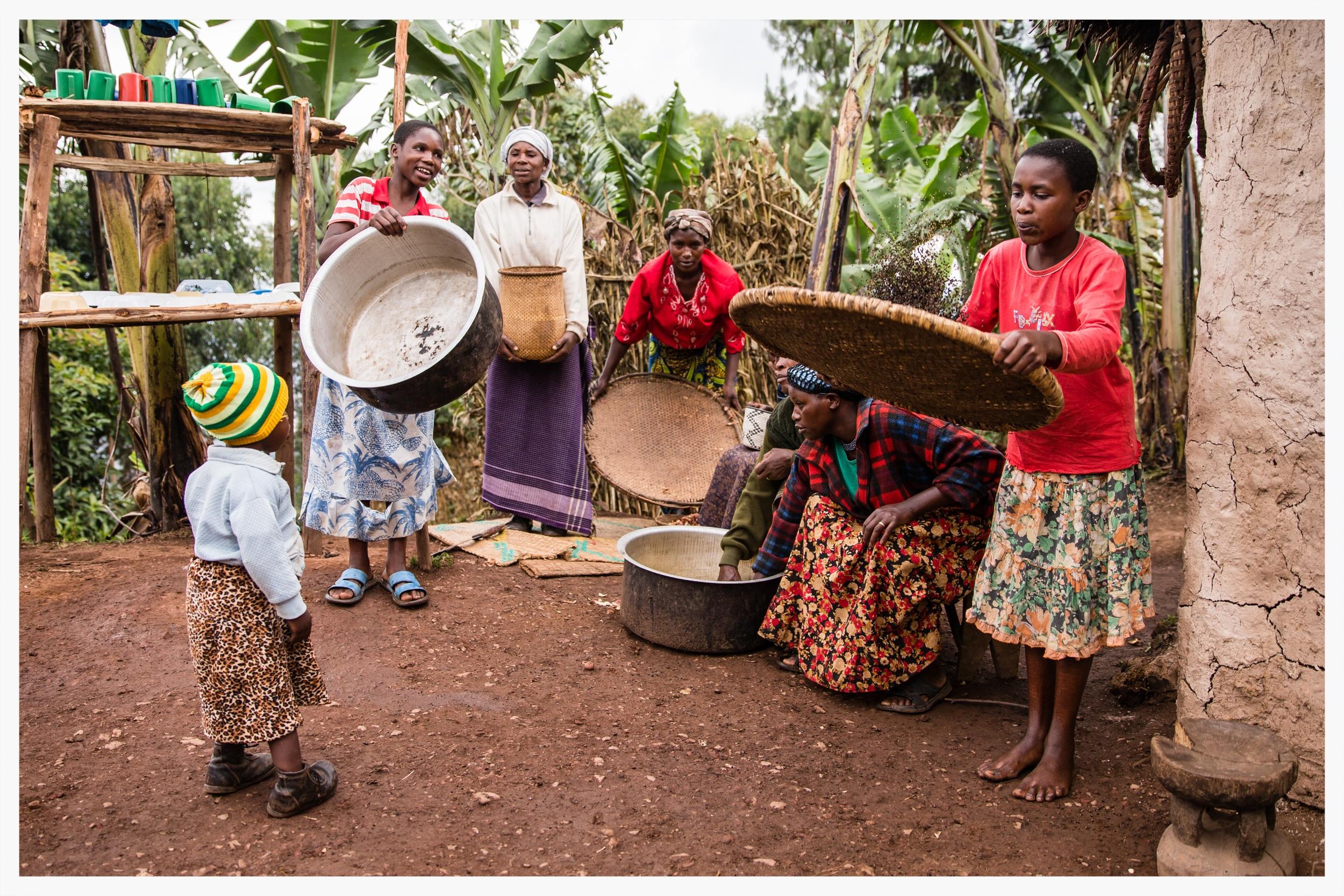 Household chores in Rwanyana,south west Uganda. Photo © Marcus Perkins