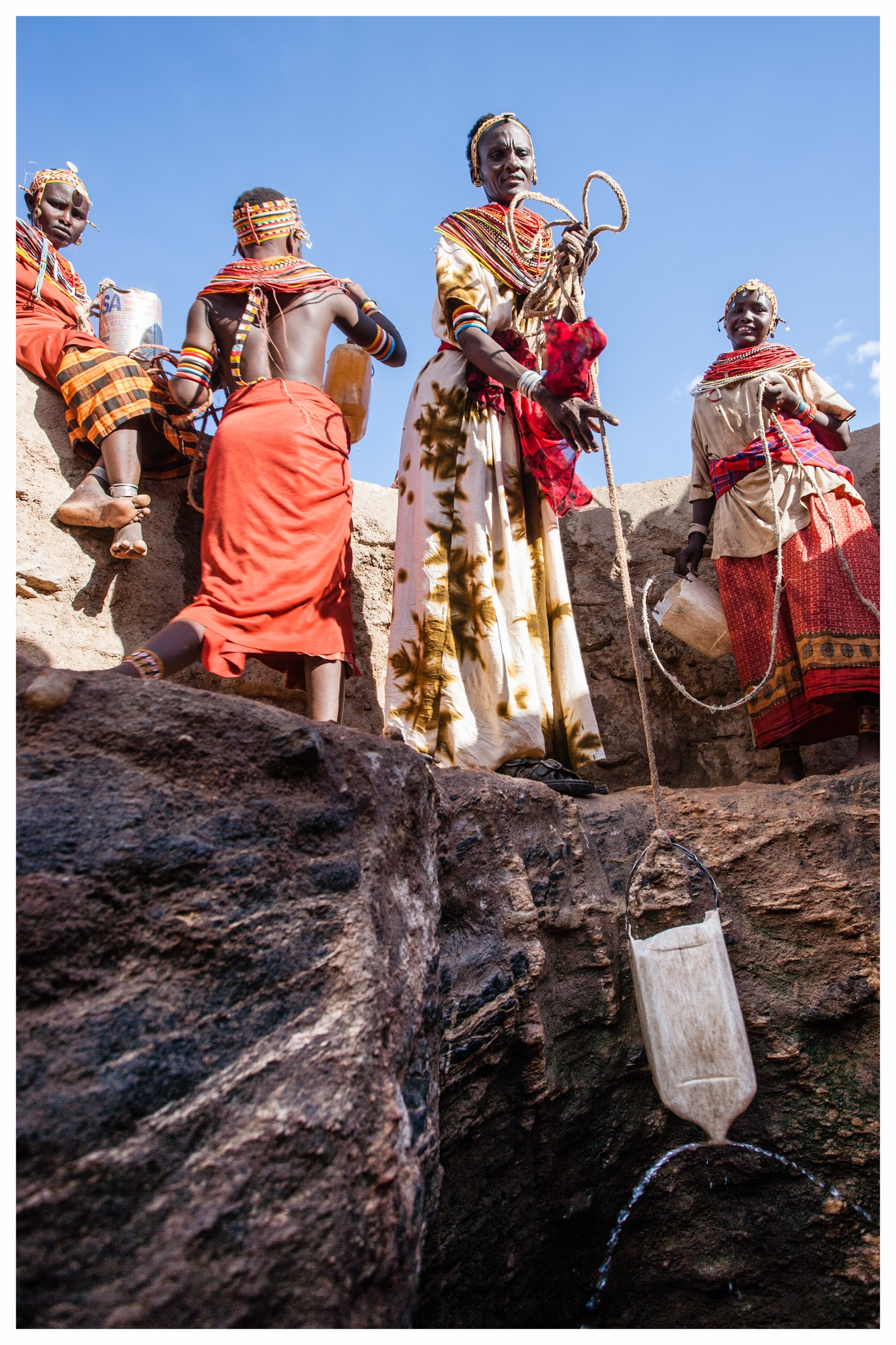 Rendille woman, Nareyo Chawle collects water in near Korr, Northern Kenya. Photo © Marcus Perkins