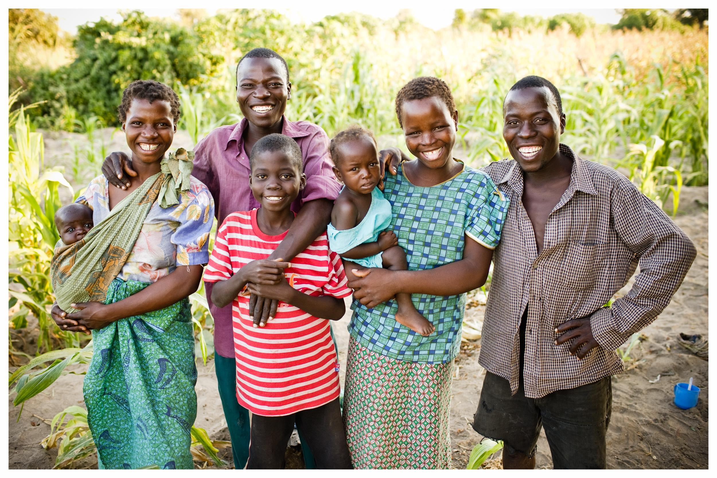 Andrew and family. Fombe, Chikwawa, Malawi. Photo © Marcus Perkins