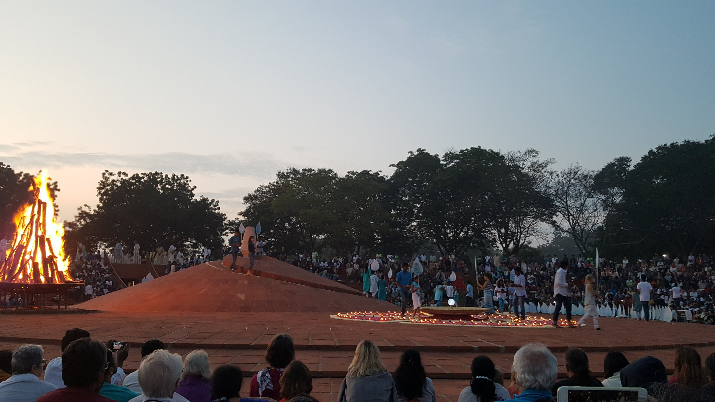 Water Ceremony in Auroville, India. Part of the 50th year anniversary.