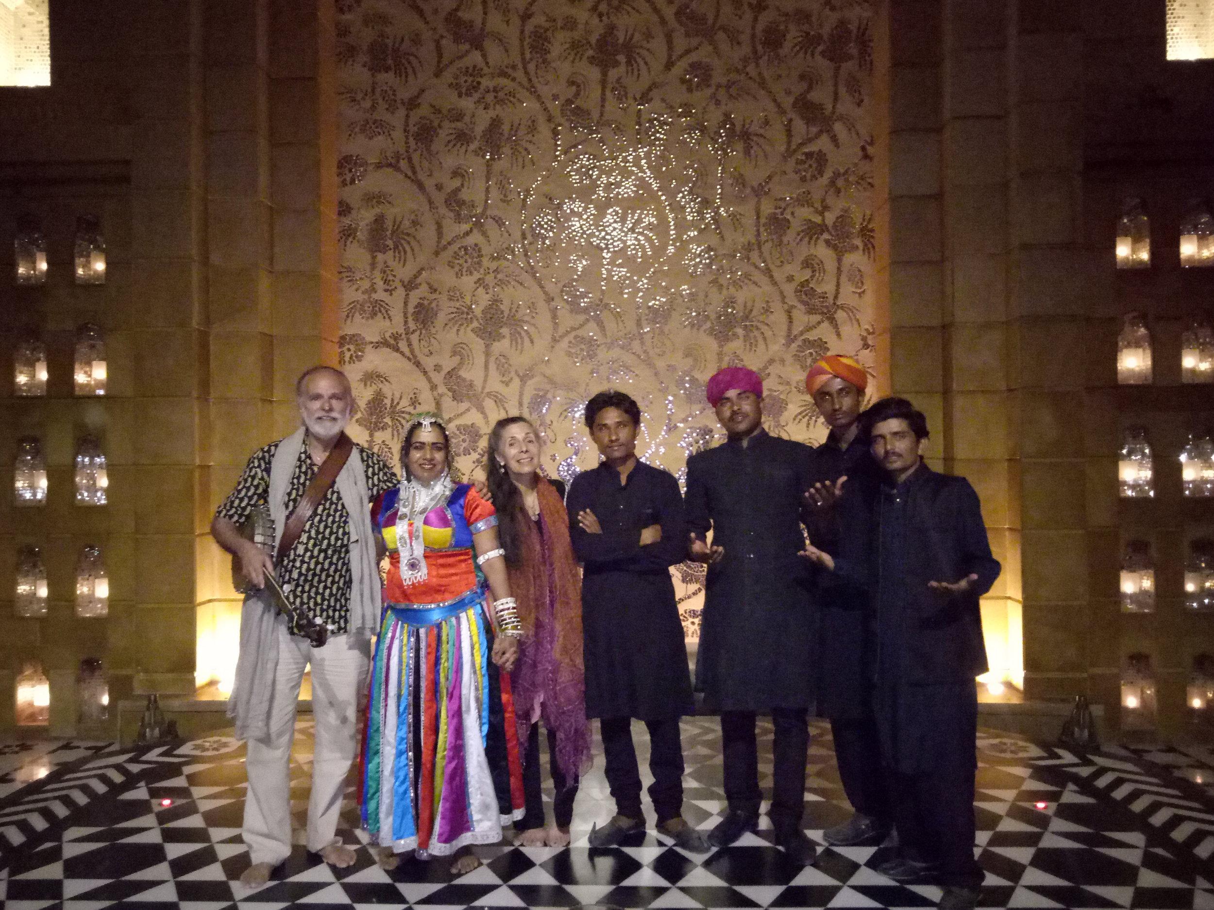 Sayari, Sheru, and the band with Livia & Bill at the Leela Palace in Udaipur City.