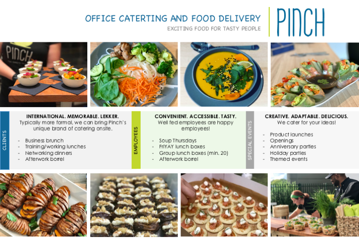 Do you have international clients to impress? Maybe you want make lunch at the office at little more exciting and a little less 'boterham-ish?' Is there something worth celebrating in the office or a product launch that needs themed bites?  In all cases, we have you covered.