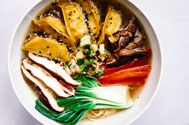 """Ramen is one thing...Ramen with dumplings is a better thing.  With this """"it looks warm but is actually biting cold when the wind blows"""" weather, a big bowl of hot broth, dumplings and all the fixins' is what the doctor ordered!  Photo: @jan.arsenovic  Food Styling: @pinch_dumplings_amsterdam"""